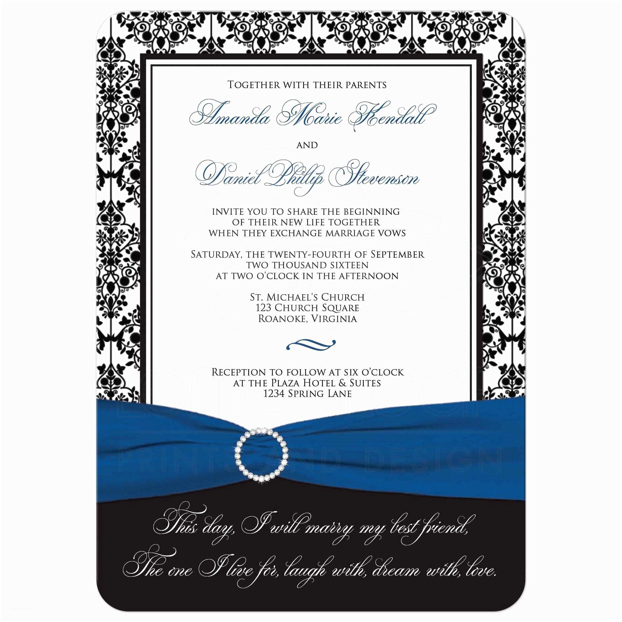 Ribbon Brooch Wedding Invitation Wedding Invitation Black White Damask Printed Royal Blue Ribbon