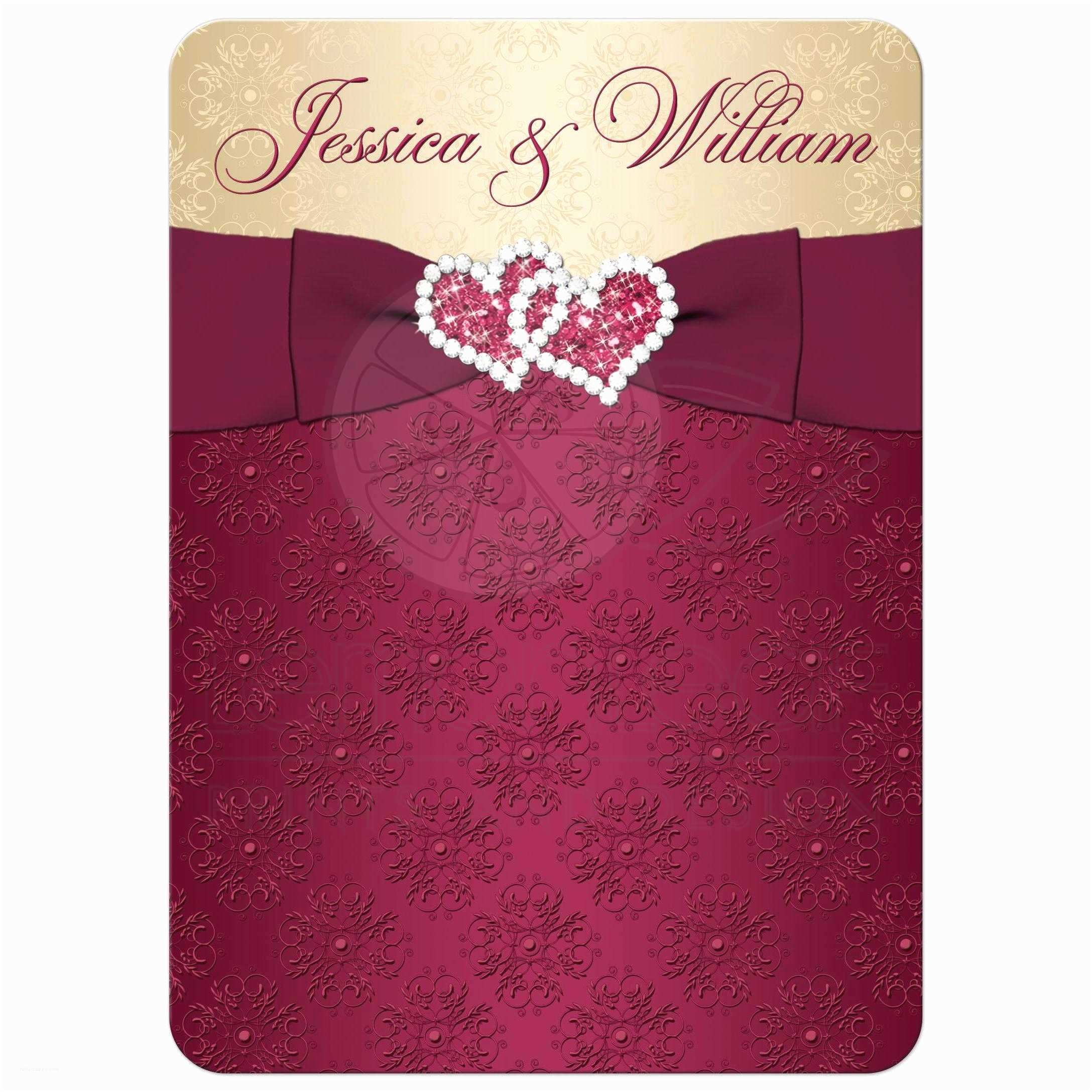 Ribbon Brooch Wedding Invitation Wedding Invitation Burgundy Gold Damask