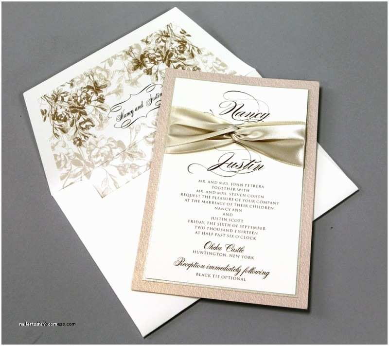 Ribbon Brooch Wedding Invitation Wedding Invitations with Ribbon