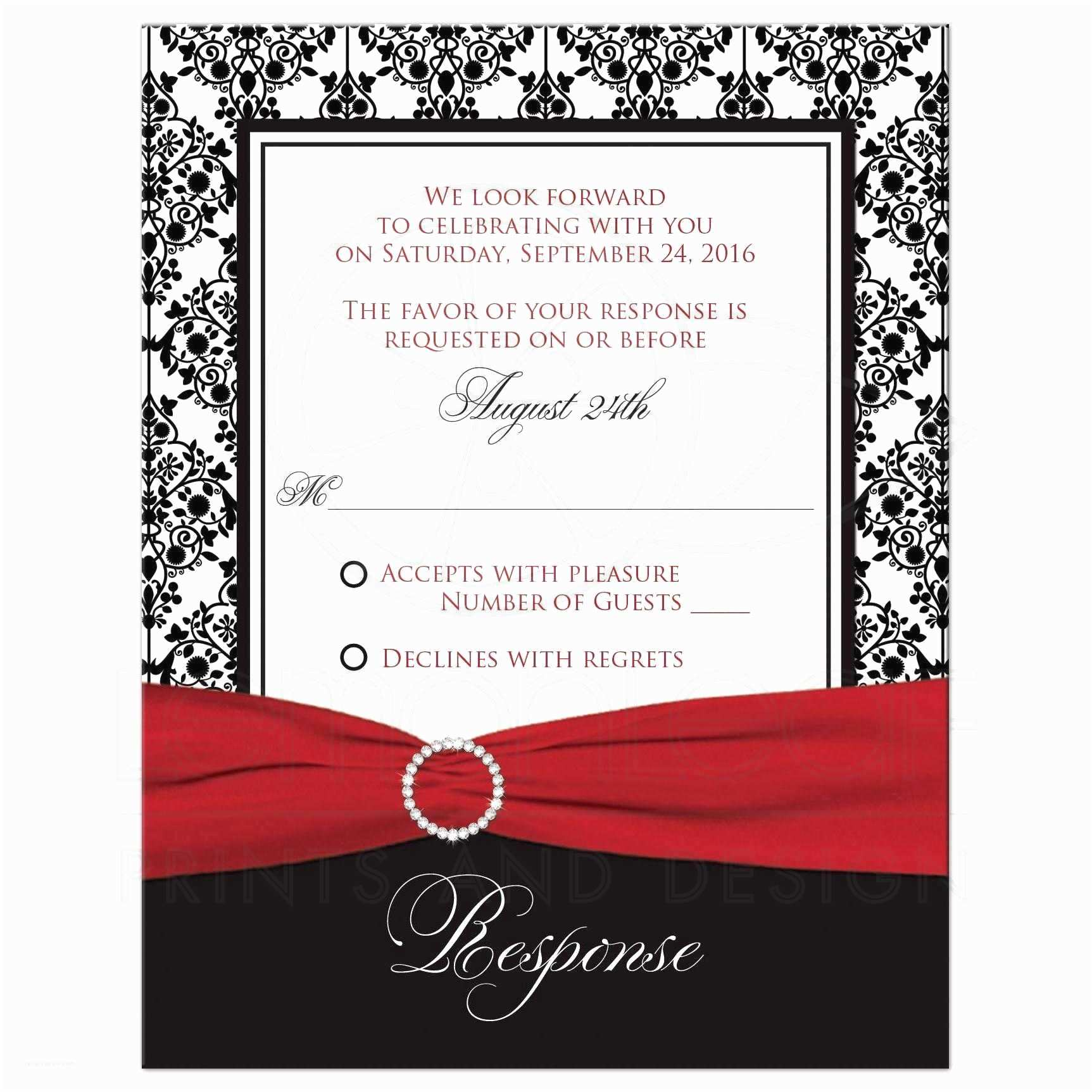 Ribbon Brooch Wedding Invitation Wedding Response Card Black White Damask Printed Red Ribbon