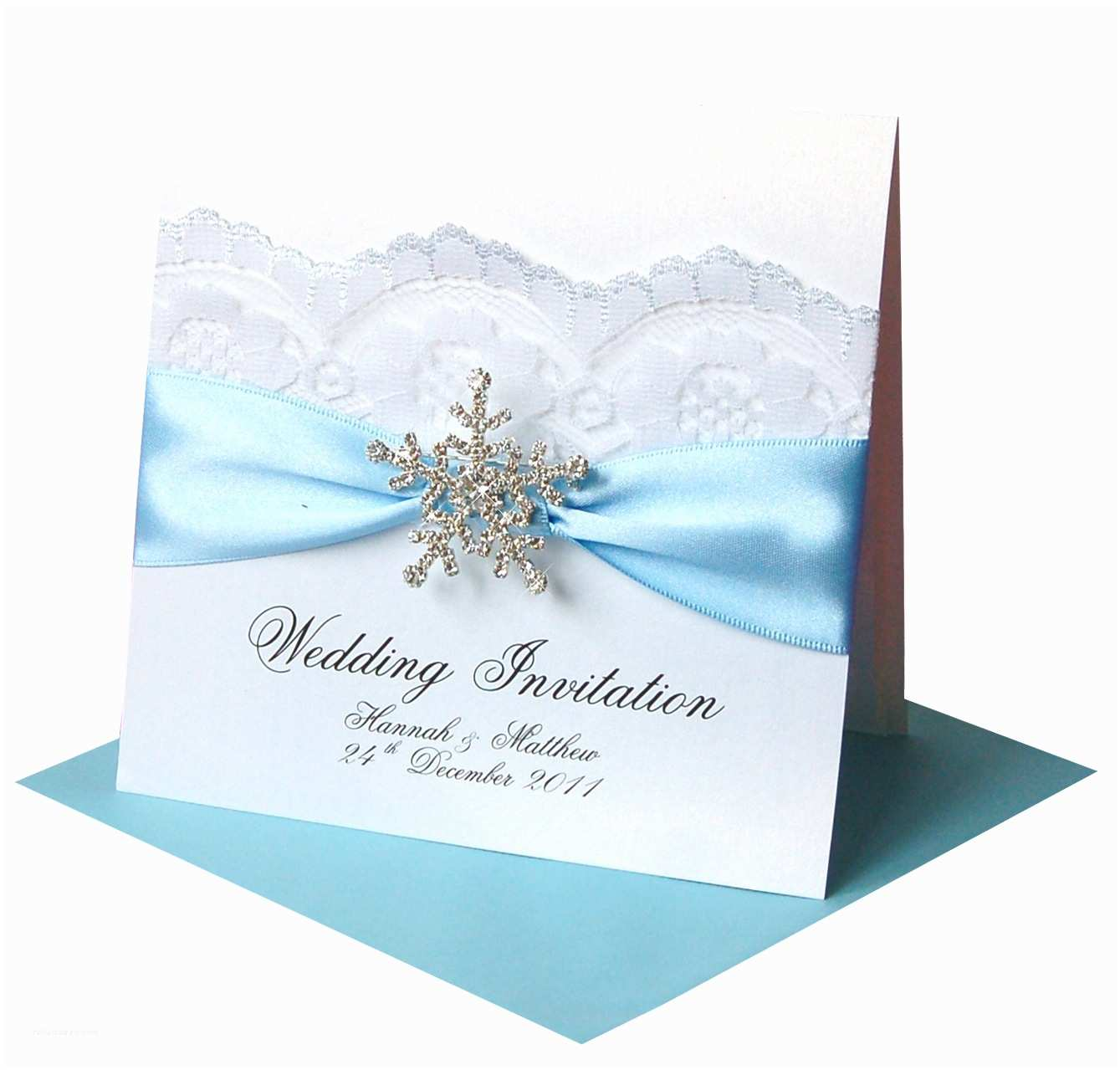 Ribbon Brooch Wedding Invitation Winter Wedding Invitations – 'snowflake' Crystal