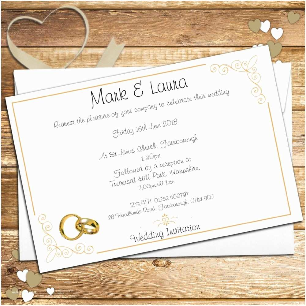 Ring In the New Year Wedding Invite 10 Personalised Gold Rings Wedding Invitations Day evening