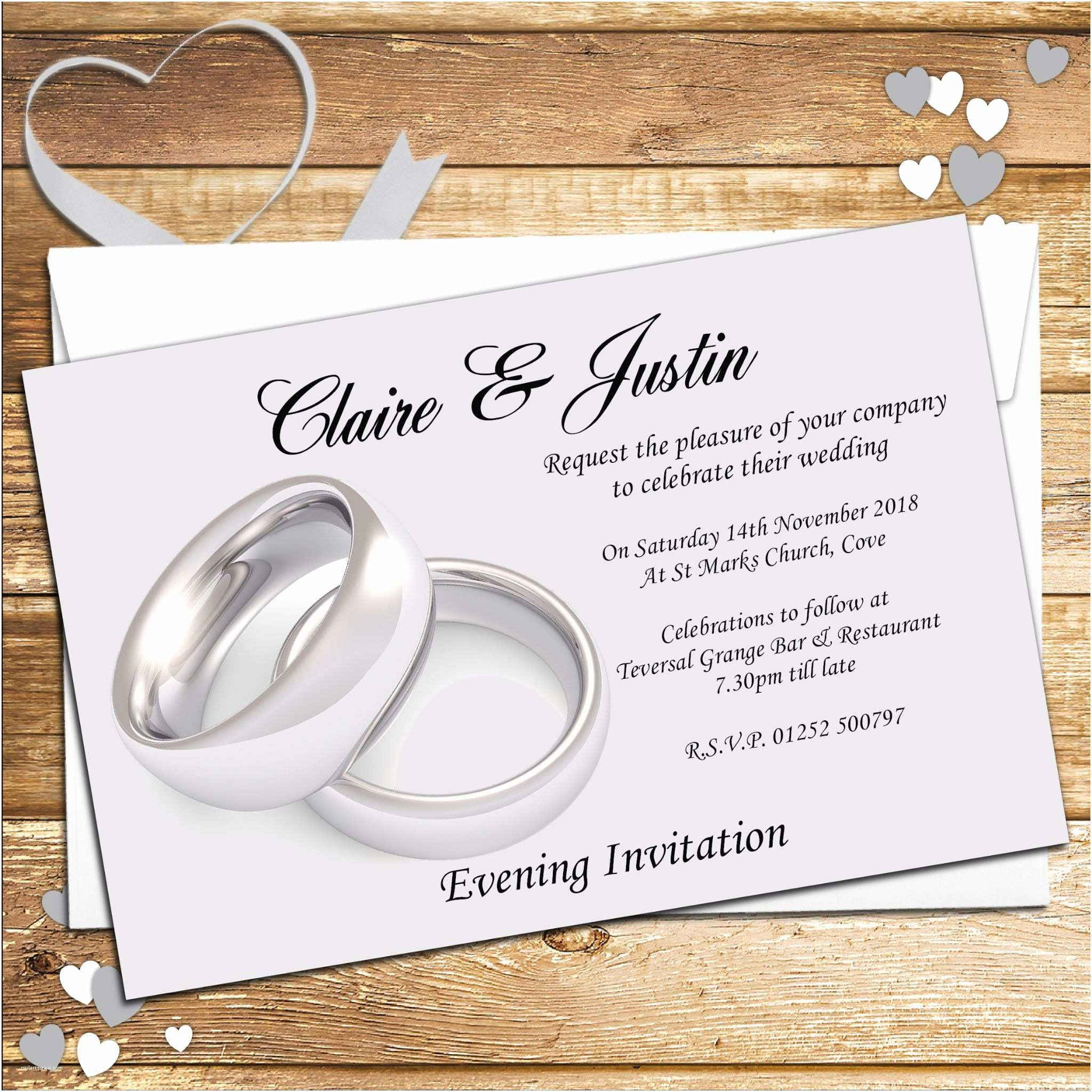 Ring In the New Year Wedding Invite 10 Personalised Wedding Silver Rings Invitations Day