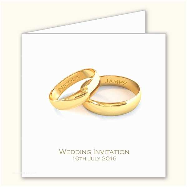Ring In the New Year Wedding Invite Add Your Names Gold Rings Wedding Invitations