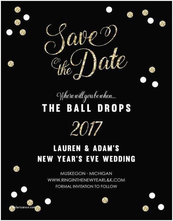 Ring In the New Year Wedding Invite Christmas and New Year Invitation Card – Merry Christmas