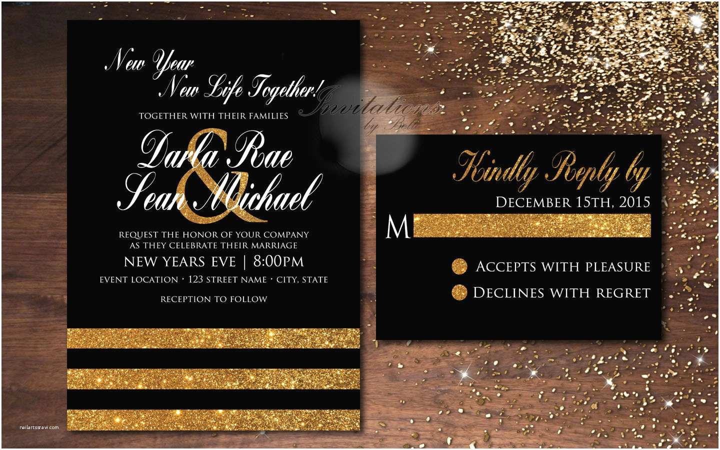 Ring In the New Year Wedding Invite Dreaded New Years Eve Wedding Invitations