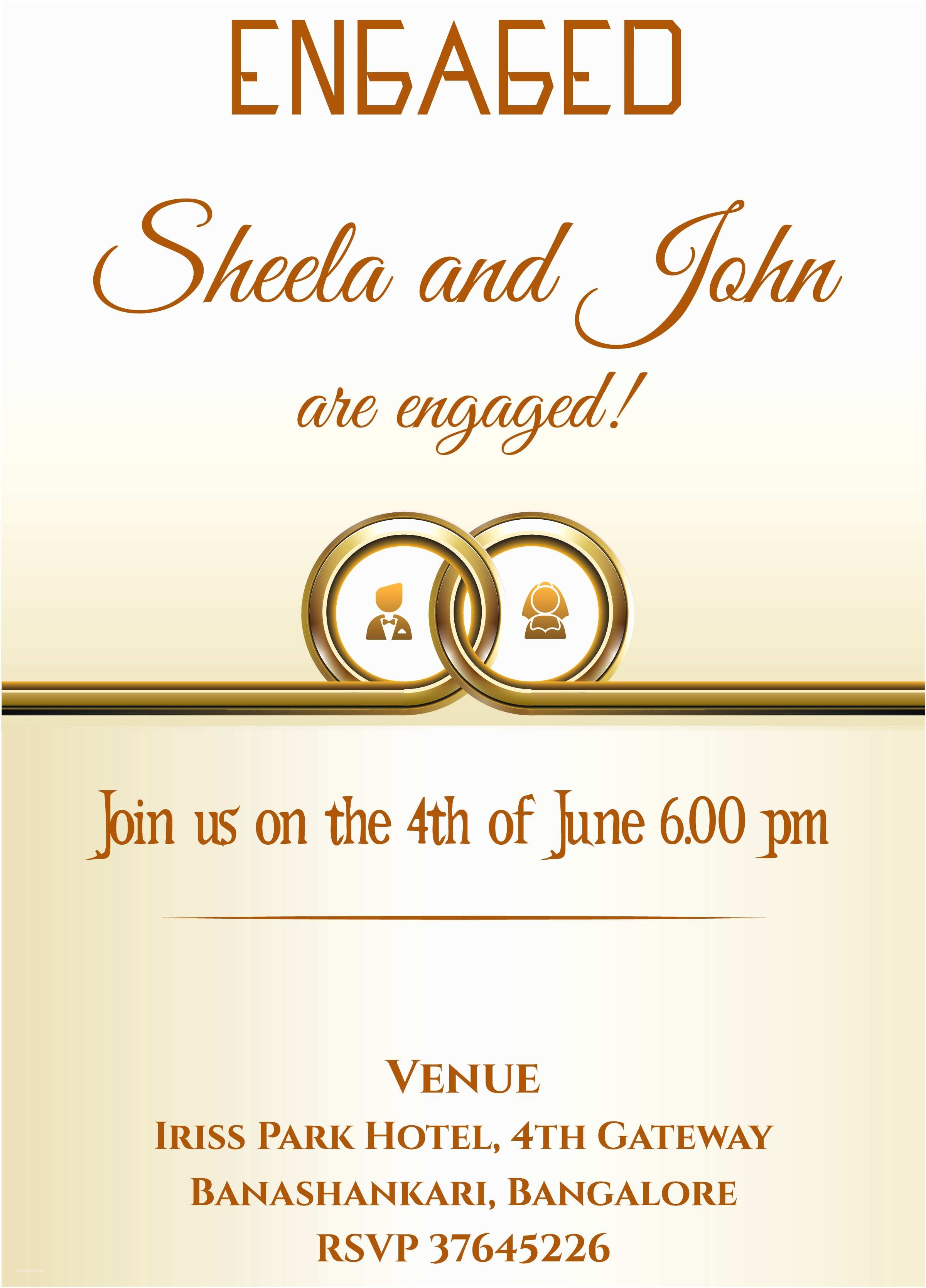 Ring In the New Year Wedding Invite Free Ring themed Engagement Invitation Card with Wordings