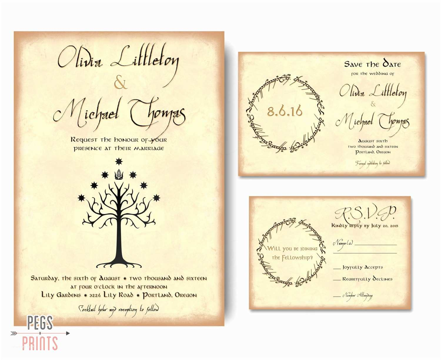 Ring In the New Year Wedding Invite Geek Wedding Invitation Set Lord Of the Rings Wedding