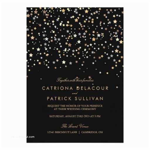 Ring In the New Year Wedding Invite Gold Star Confetti Modern Wedding Invitation
