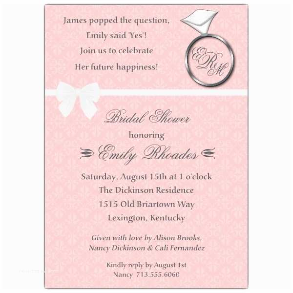 Ring In the New Year Wedding Invite Ring and Bow Bridal Shower Invitations