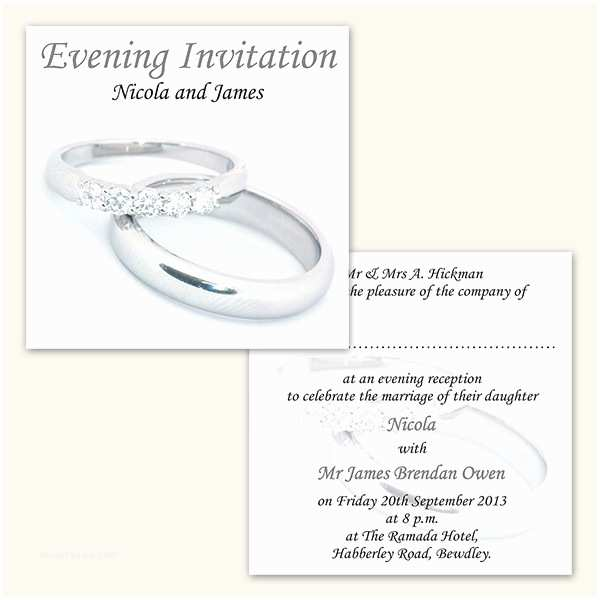 Ring In the New Year Wedding Invite Wedding evening Invitations Silver Rings