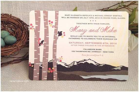 Rocky Mountain Wedding Invitations 5x7 Wedding Invitation Fall Rocky Mountain with Birch Trees