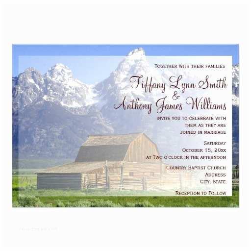 "Rocky Mountain Wedding Invitations Rocky Mountain Country Barn Wedding Invitations 4 5"" X 6 25"" Invitation Card"