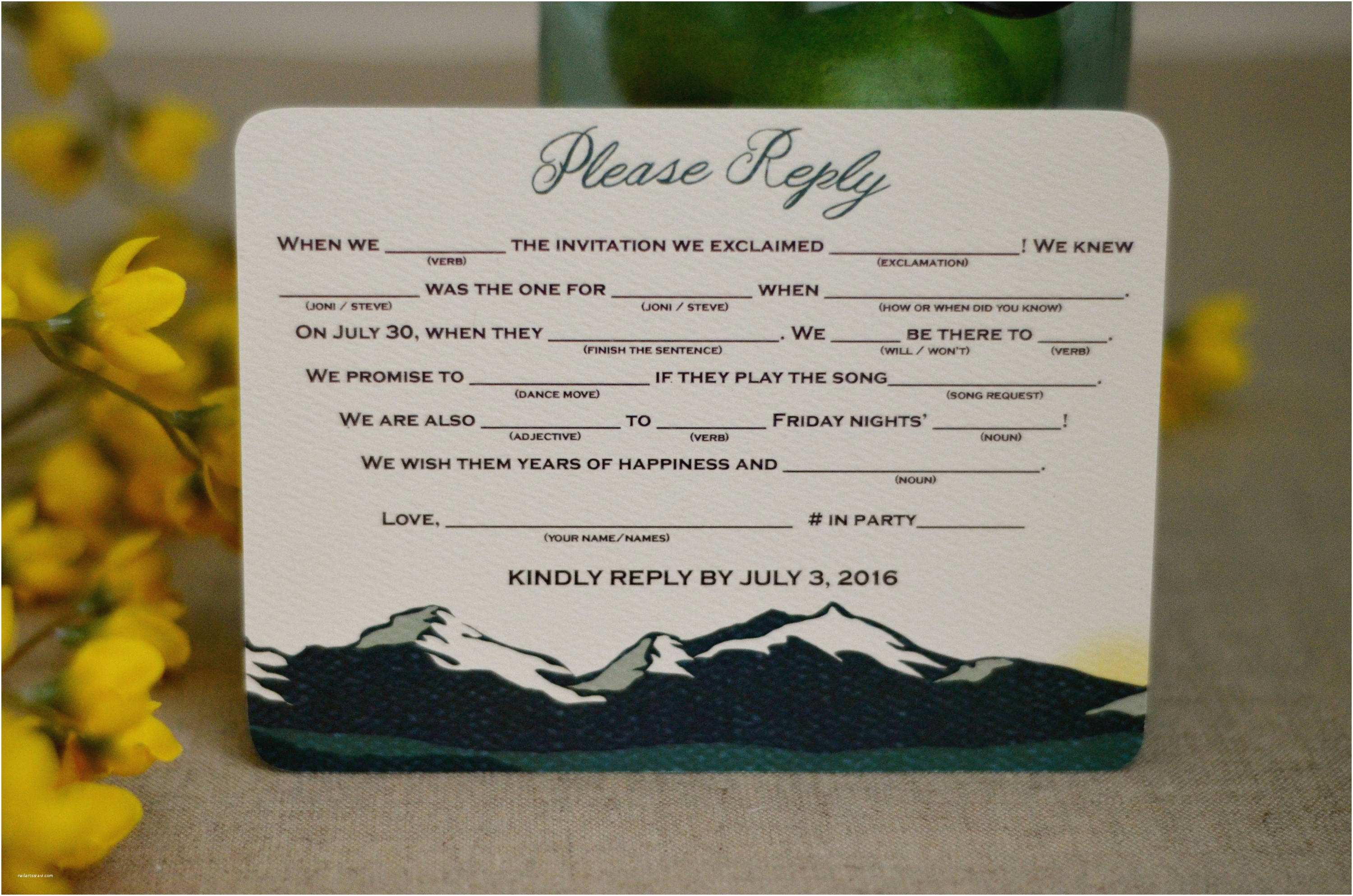 rocky mountain green landscape with sunset 5x7 wedding invitation with rsvp postcard bp1
