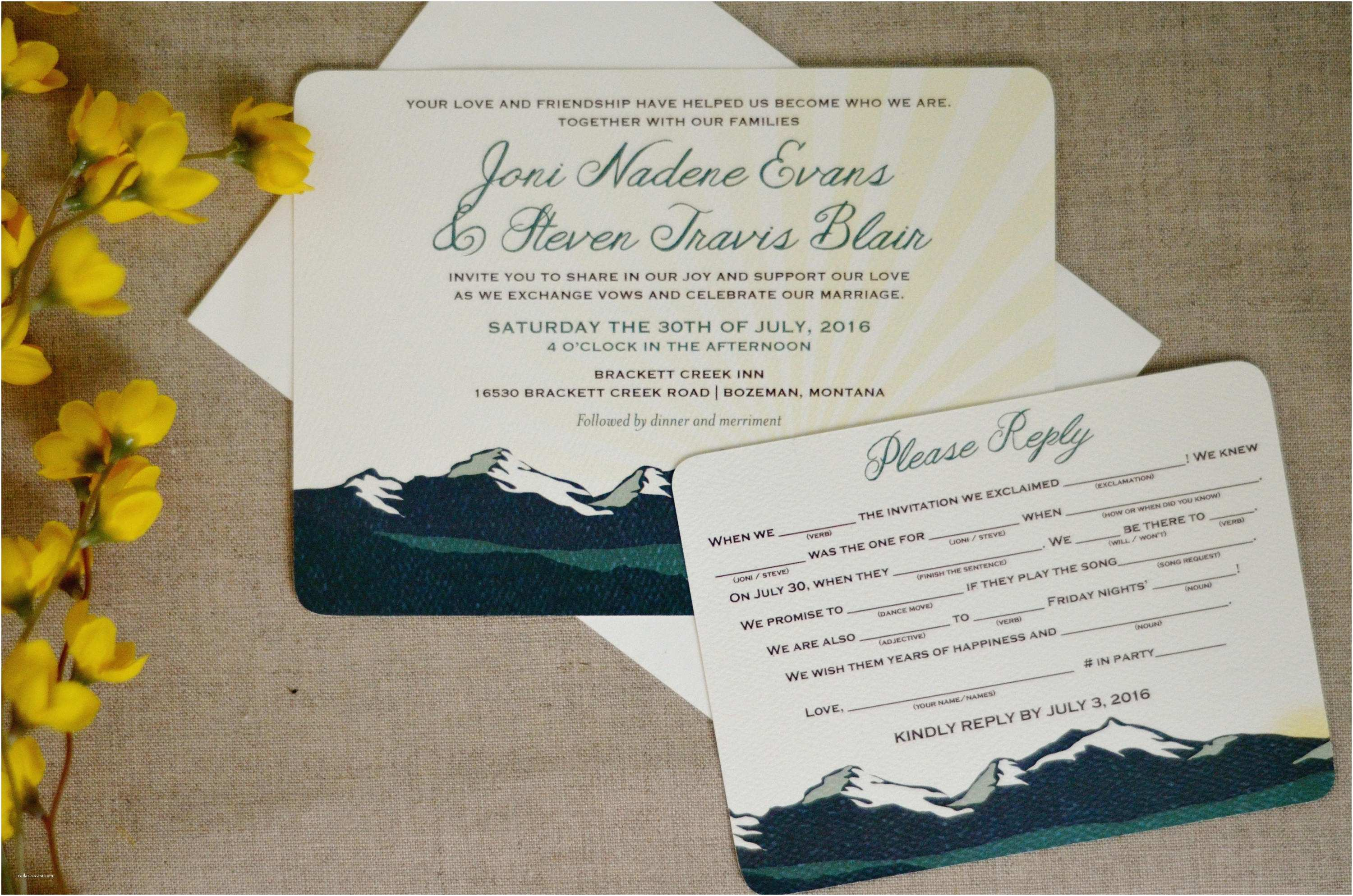 Rocky Mountain Wedding Invitations Rocky Mountain Green Landscape with Sunset 5×7 Wedding Invitation with Rsvp Postcard – Bp1
