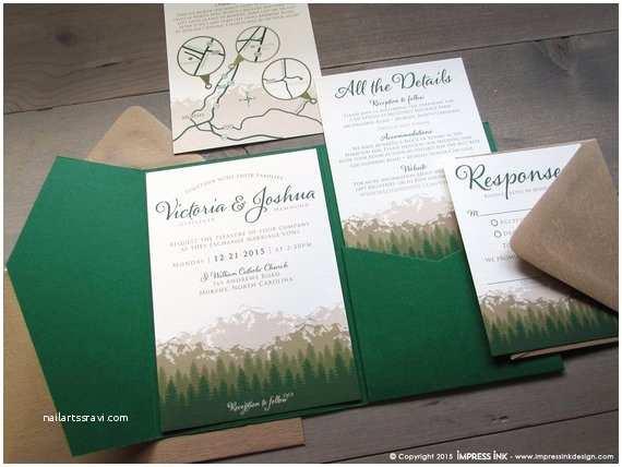 Rocky Mountain Wedding Invitations Rocky Mountains Wedding Invitation Sample Flat or Pocket