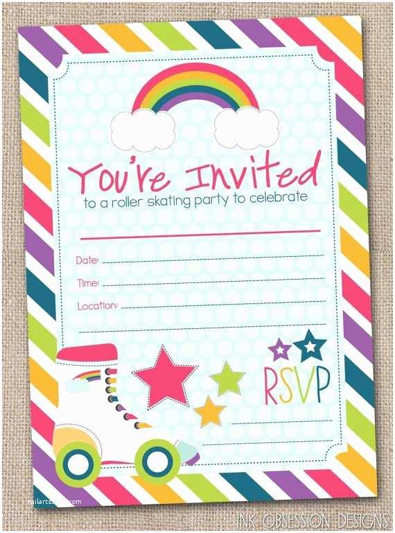 Roller Skating Party Invitations Fill In Roller Skating Party Invitations by