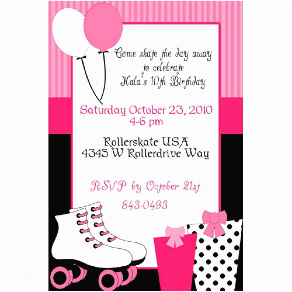 Roller Skating Party Invitations Free Birthday Ideas