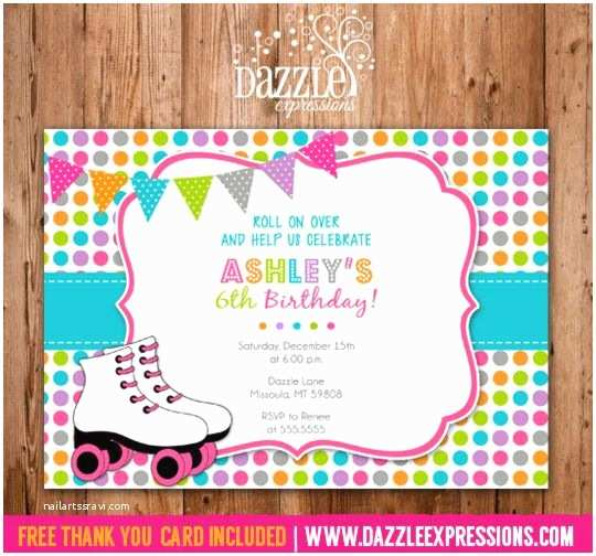 Roller Skating Party Invitations Printable Polka Dot
