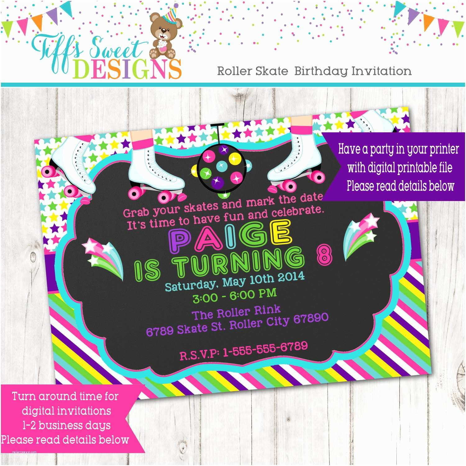 Roller Skating Party Invitations Roller Skate Party Roller Skate Invitation Roller Skate
