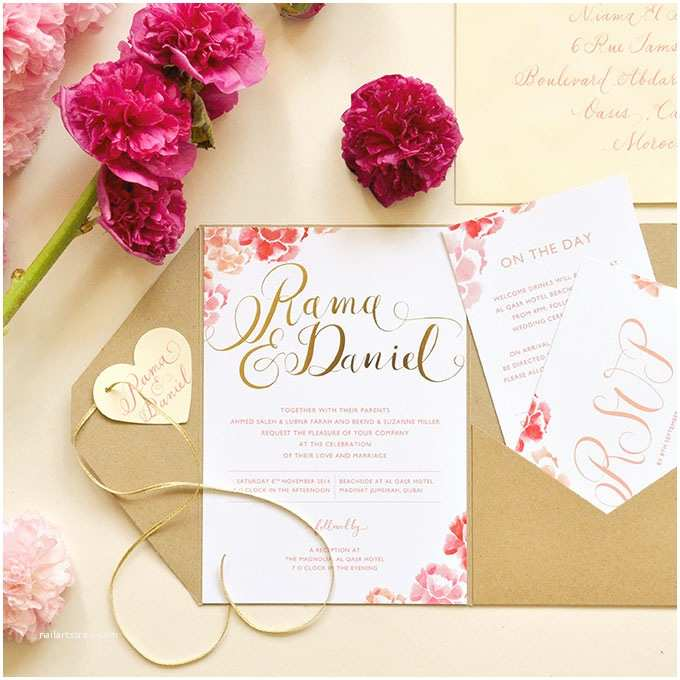 Romantic Wedding Invitations formal Floral Invitations with Gold Details