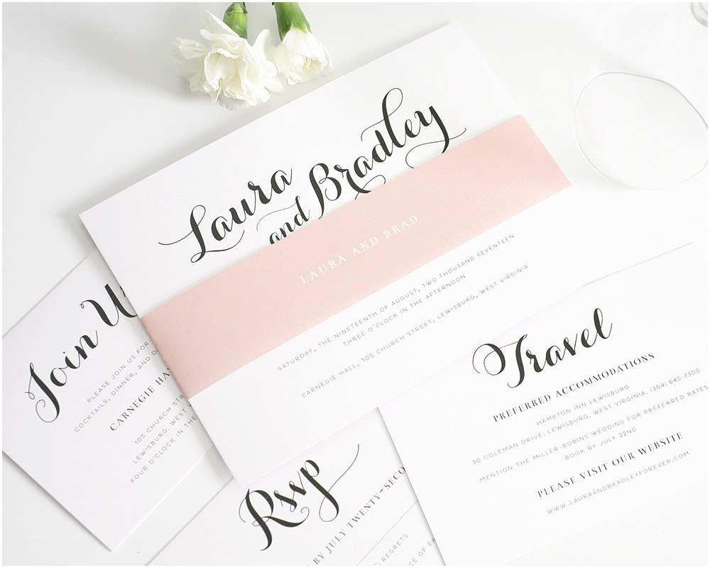 romantic blush wedding invitations