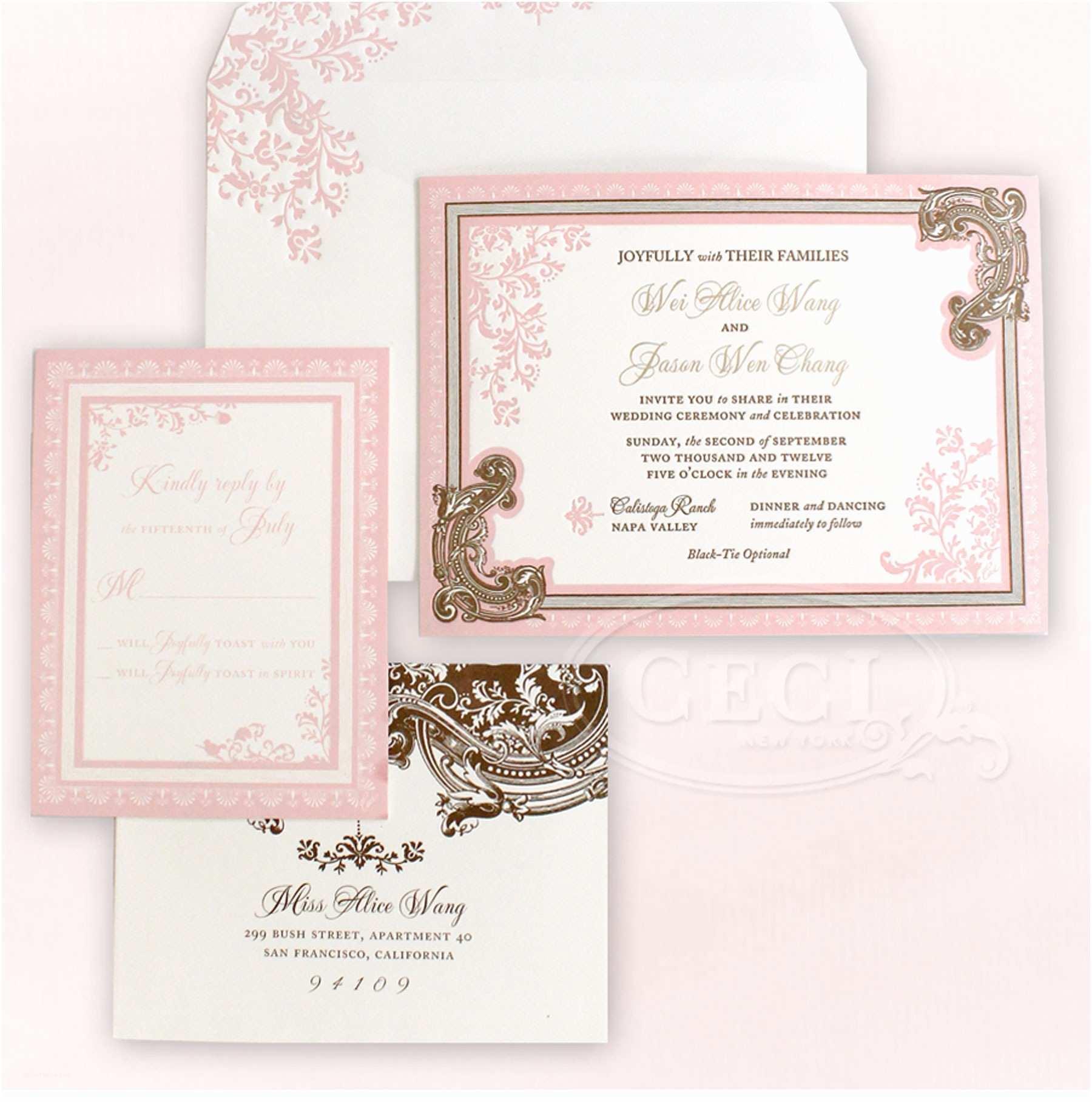 Romantic Wedding Invitations V165 Our Muse Elegant ornate Wedding Alice and Jason