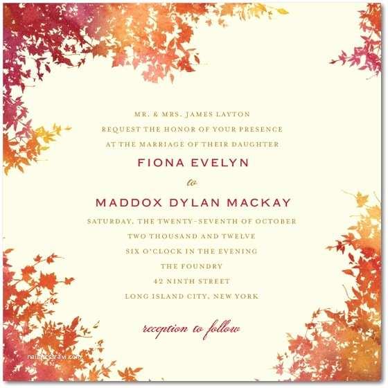 Romantic Wedding Invitations Wording Examples Autumn Wedding Invitation Square Cream Twilight Romantic