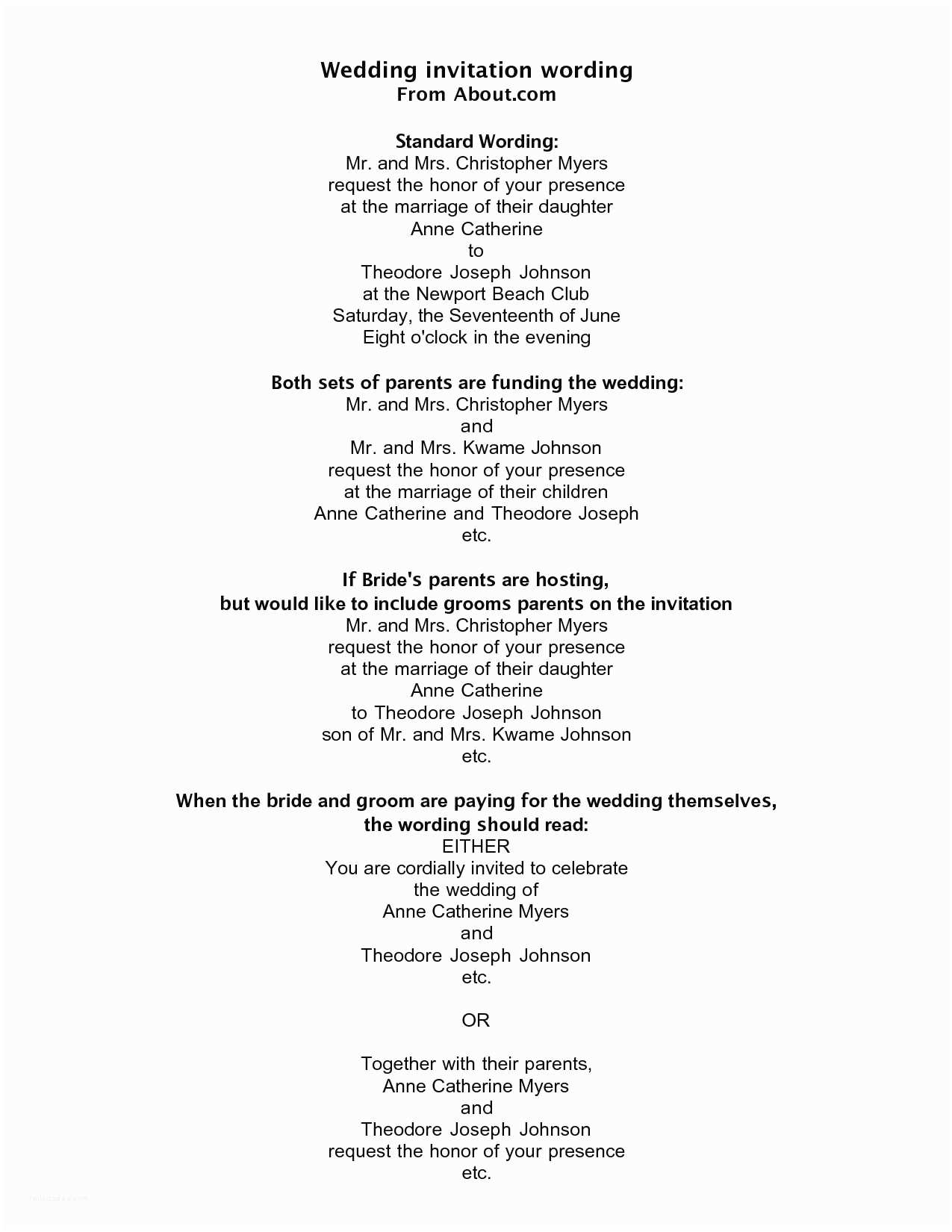 Romantic Wedding Invitations Wording Examples Romantic Wedding Invitation Wording From Bride and Groom