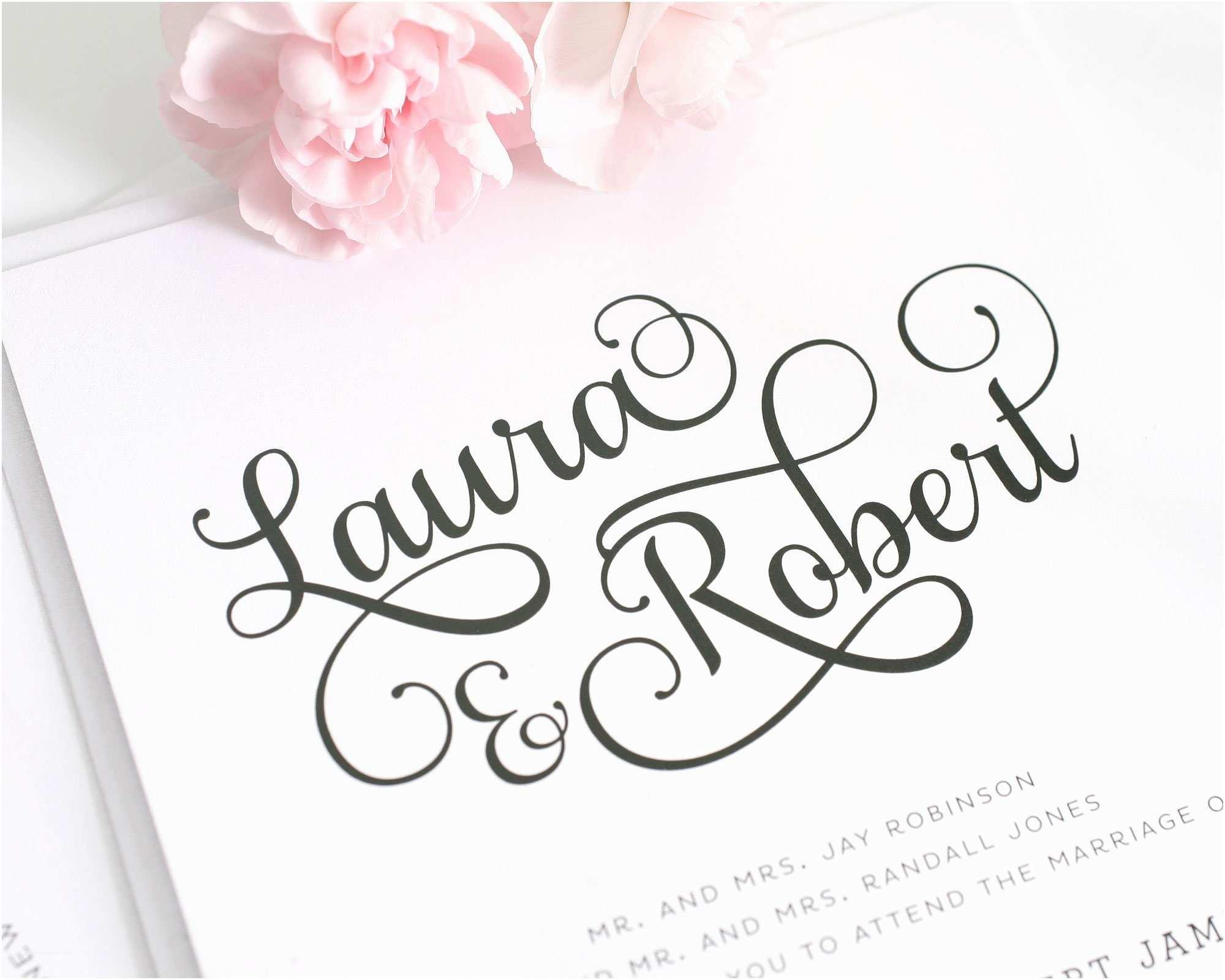 Romantic Wedding Invitations Wording Examples Sweet and Romantic Wedding Invitations with Script