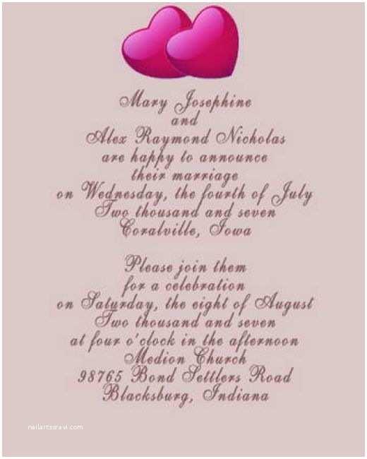 Romantic Wedding Invitations Wording Examples Wedding Card Invitation for Friends Wordings