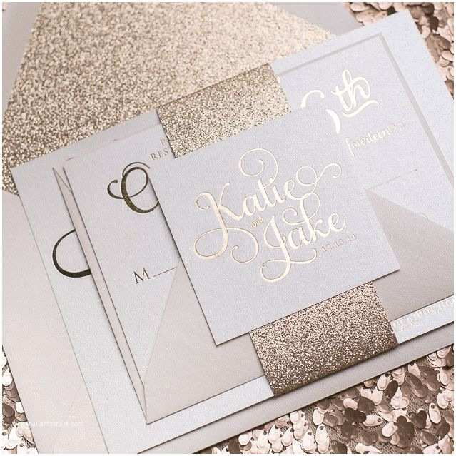 Rose Gold Foil Wedding Invitations Adele Foil Sample Rose Gold Glitter