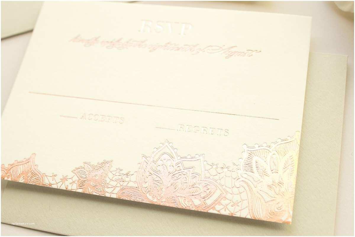 Rose Gold Foil Wedding Invitations Banter and Charm Delicate Romantic Wedding Invitations