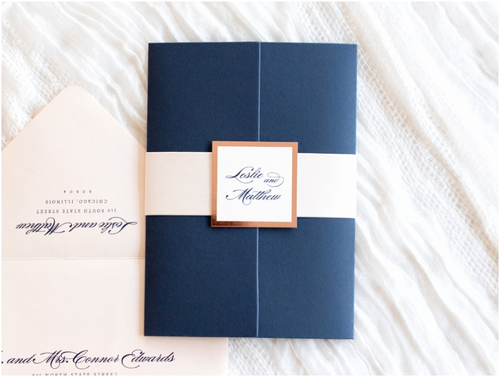 Rose Gold Foil Wedding Invitations Elegant & formal Wedding Invitation In Navy Blue Blush