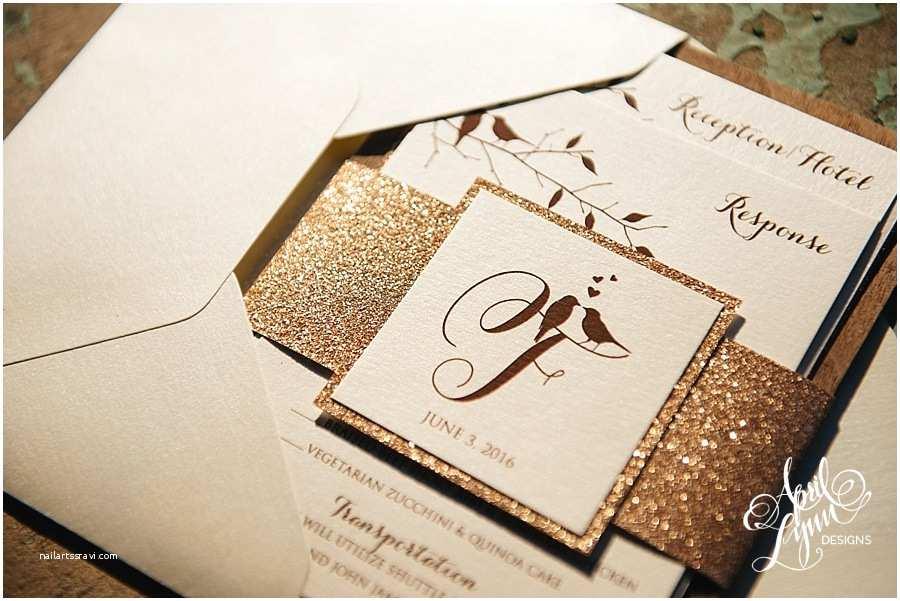 Rose Gold Foil Wedding Invitations Erin Rich S Rustic Glam Rose Gold Foil and Glitter