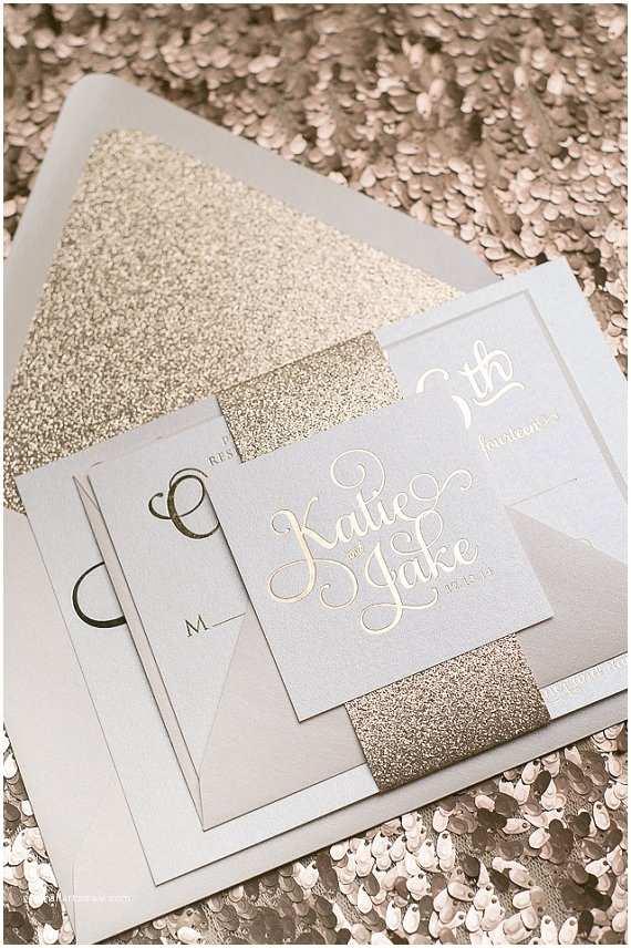 Rose Gold Foil Wedding Invitations Foil Rose Gold Glitter Wedding Invitation Sample Adele