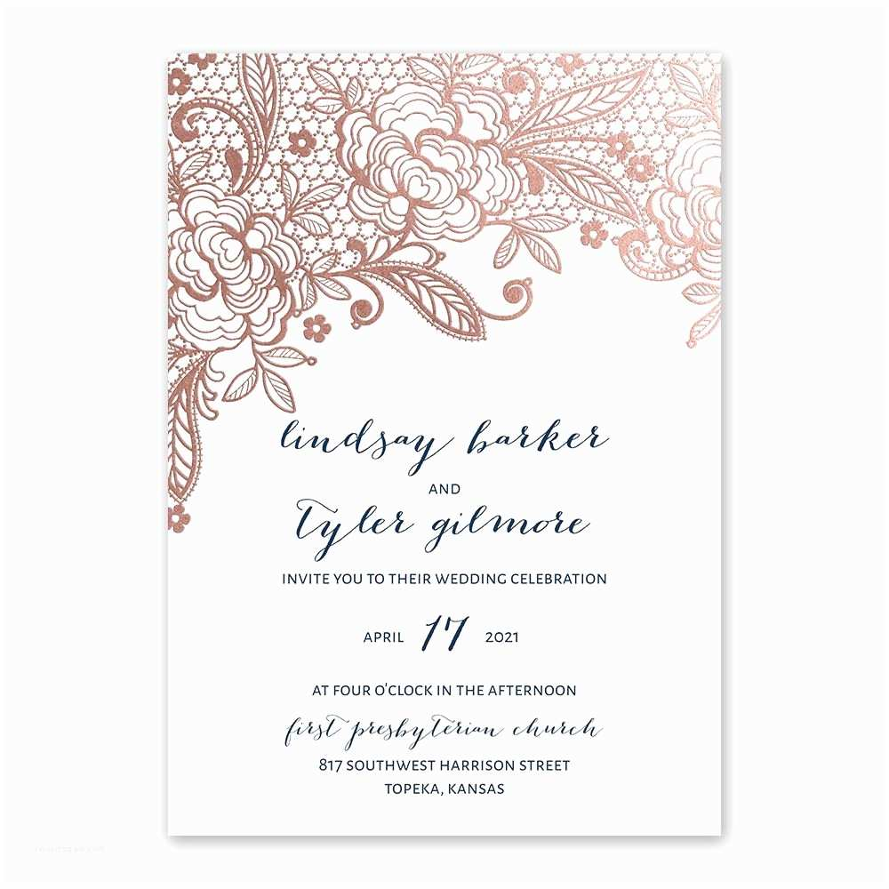 Rose Gold Foil Wedding Invitations Glamorous Lace Foil Invitation