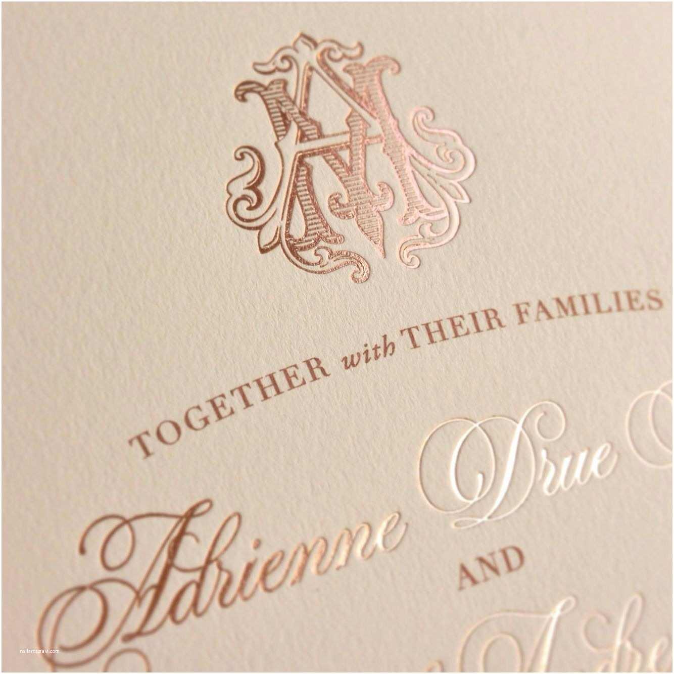 Rose Gold Foil Wedding Invitations Rose Gold Foil Custom Monogram Wedding Invitations by Ecru