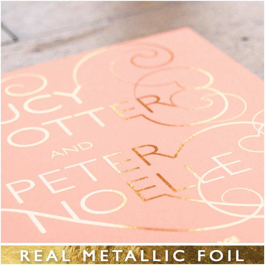 Rose Gold Foil Wedding Invitations Swan Lake Foiled Wedding Invitation and Save the Date by