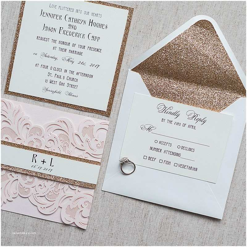 Rose Gold Wedding Invitations Elegant Blush Pink Laser Cut Wedding Invitation with Rose