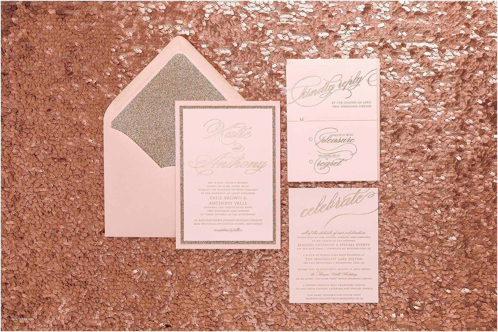 Rose Gold Wedding Invitations Glitter Invitations