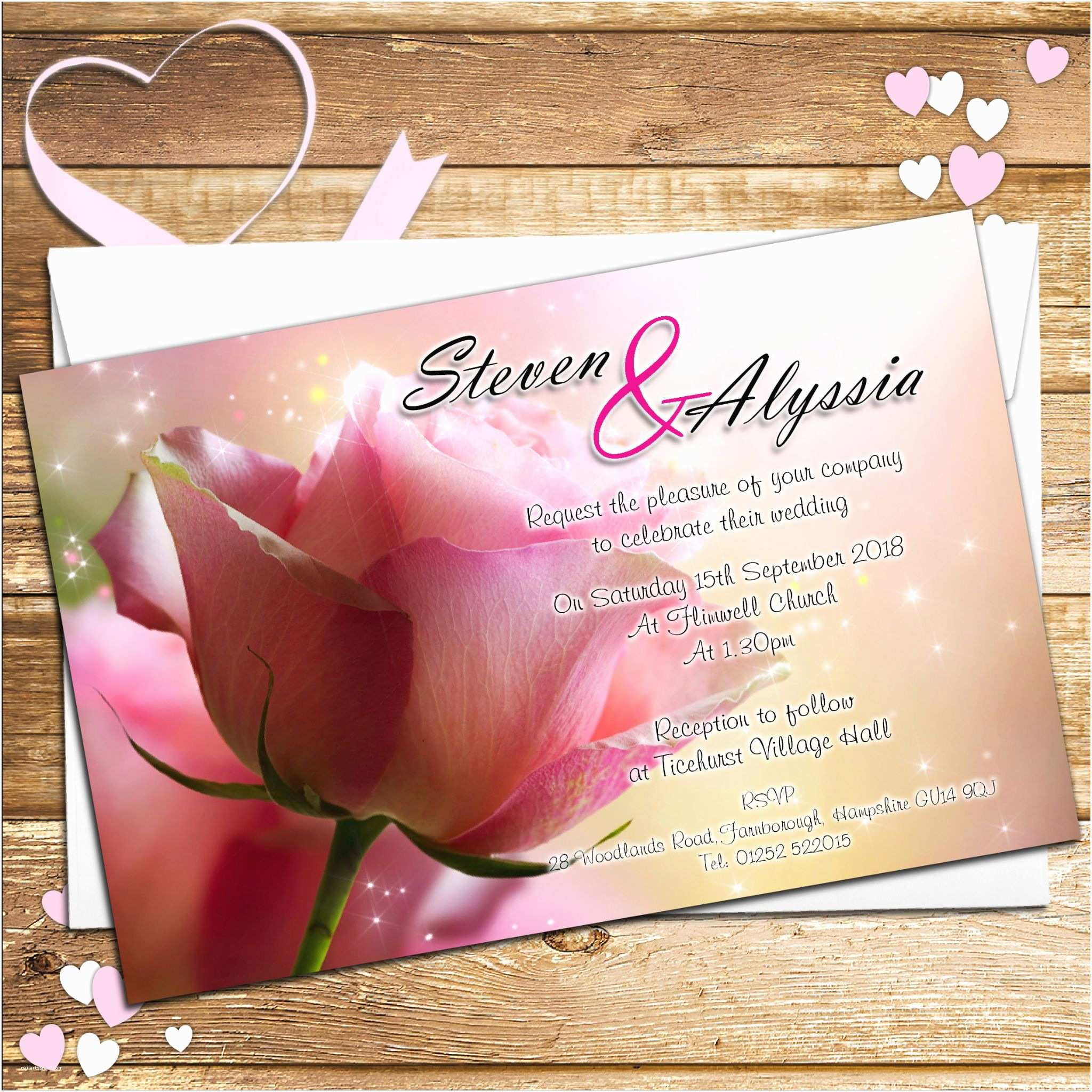 Rose Wedding Invitations 10 Personalised Pink Rose Wedding Invitations