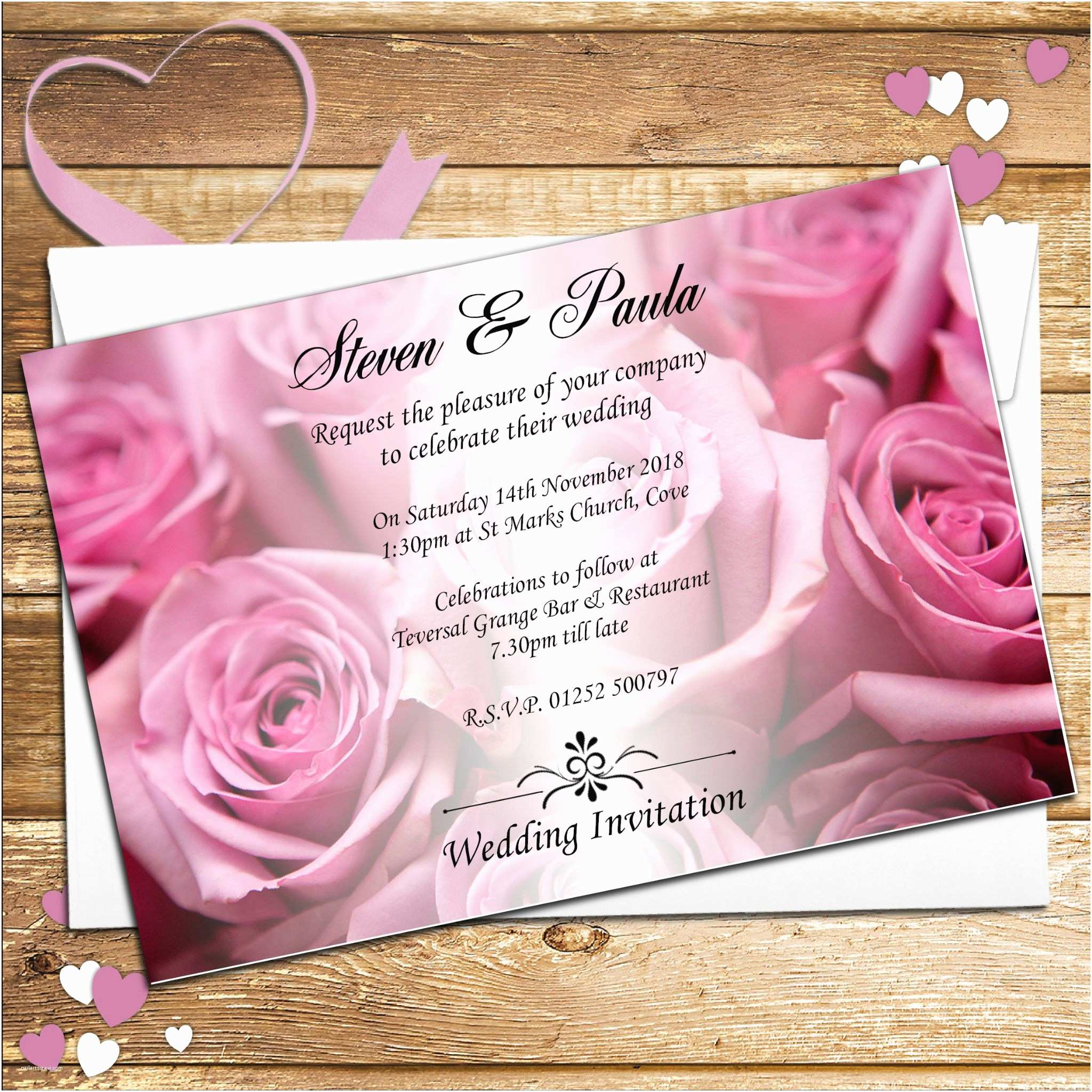 Rose Wedding Invitations 10 Personalised Pink Roses Wedding Invitations Day evening N52