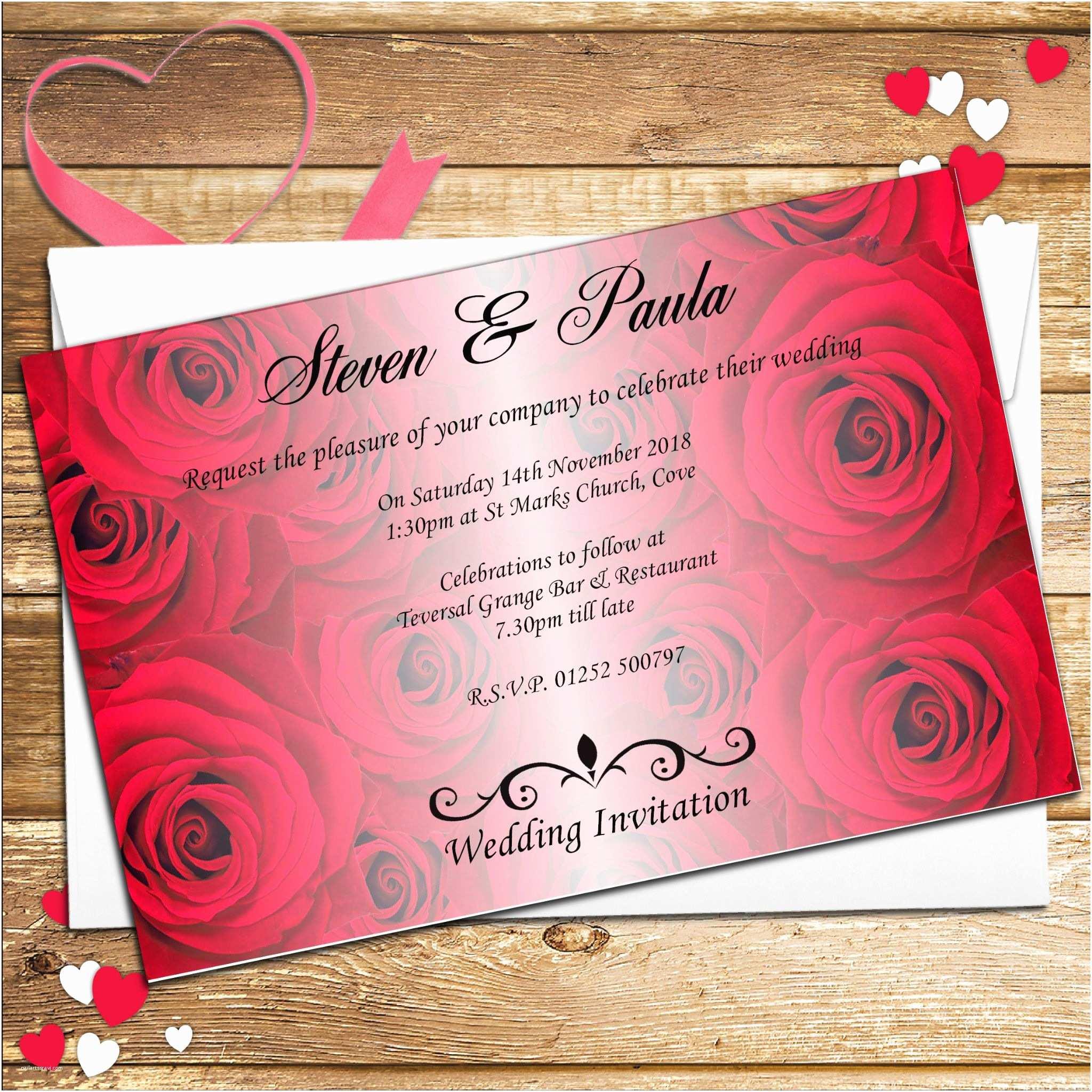 Rose Wedding Invitations 10 Personalised Red Roses Wedding Invitations Day Evening