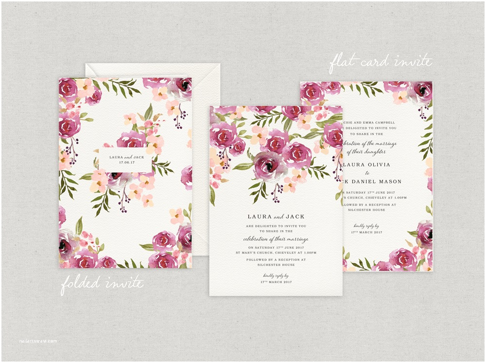 Rose Wedding Invitations Blossom and Roses Wedding Stationery with Love Wedding