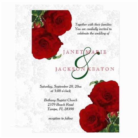 Rose Wedding Invitations Deep Red Rose Floral Wedding Invitation