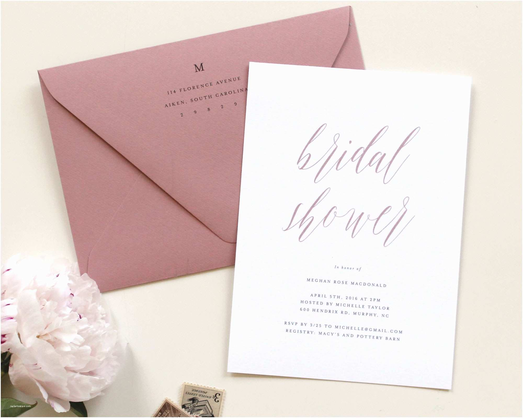 Rose Wedding Invitations Dusty Rose Wedding Invitations