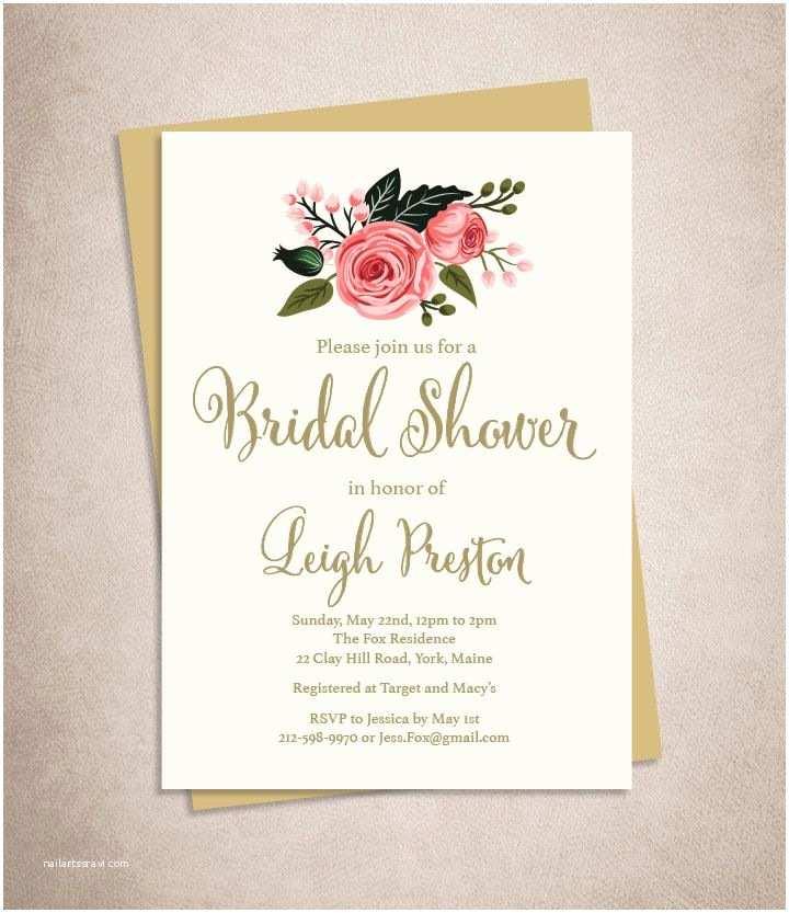 Wedding Invitations Floral Bridal Shower Invitation Diy Watercolor
