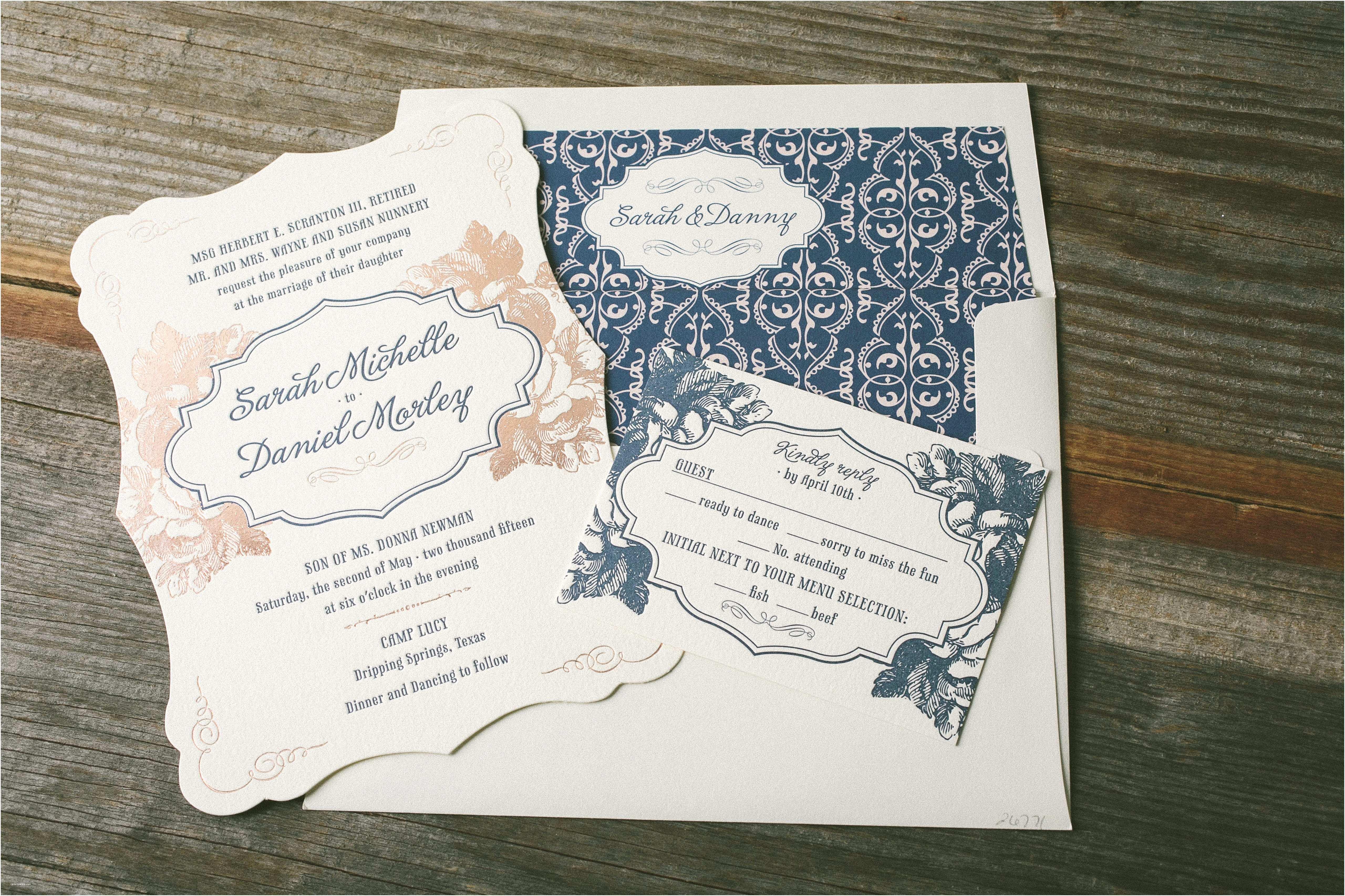Rose Wedding Invitations Navy and Rose Gold Wedding Invitations Bella Figura