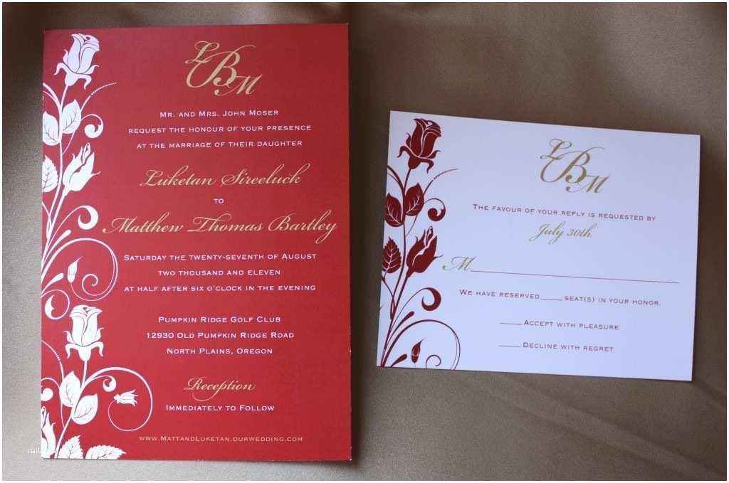 Rose Wedding Invitations Red and Gold Rose Vine Swirl Wedding Stationery Emdotzee